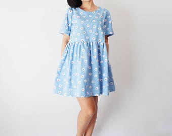 Floral print cotton denim chambray smock dress, Loose babydoll dress, Sun dress