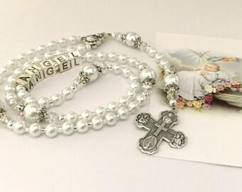 Baptism Rosary. Baby Rosary. White Rosary. Christening Rosary. Girl Rosary. Boy Rosary. First Communion Rosary. Catholic Rosary. #R37