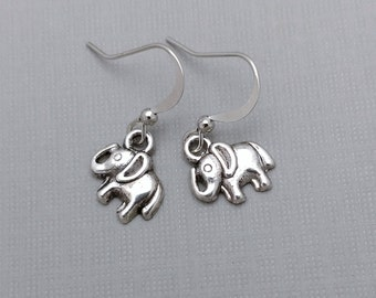 Tiny Elephant Earrings, Simple Elephant Charms, Nature Earrings, Wildlife Jewelry, Animal Charm, India, Asia, Africa, Circus