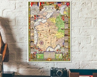 American Expeditionary Force in Europe - WWI Historical Map - Great War I - First World War - Old map of Europe - US Army war map