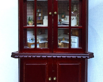 Fantastic, very detailed angular display cabinet, scale 1/12, with interior decorated in 1/120 scale