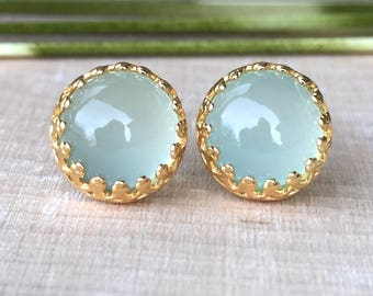 SALE 10% OFF - genuine aqua chalcedony 8mm smooth round stud earrings with 14k gold vermeil bezel and post - chalcedony studs - blue studs