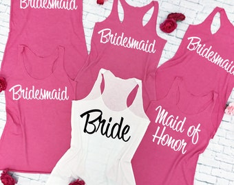 6 Bridesmaid Shirts. 6 Bridesmaid Tank Tops. 6 Bachelorette Party Shirts. Wedding Tank Tops. Bridal Party Shirts. Maid of Honor Shirt