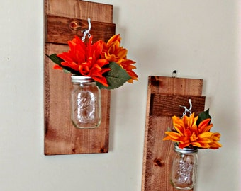 Hanging Mason Jar Decor Mason Jar Wall Sconce Candle Holder Mason Jar Flower Vase Rustic Farmhouse Cottage Mason Jar Wall Decor