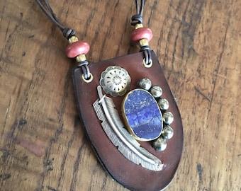 Lapis & Pyrite Leather Necklace