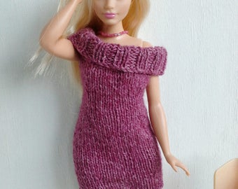Knitted dress for Curvy Barbie doll, Barbie dress, Made to order