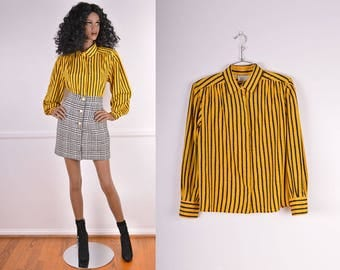 Vintage Black & Yellow Striped Button Up Blouse/ 70s/ Novelty/ Secretary/ Long sleeve/ Blouse/ Top/ Button up/ Retro/ Charlie Brown/ Size 12