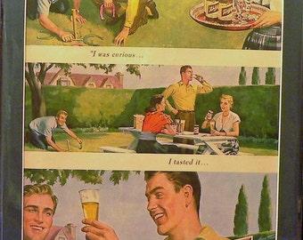 1950 Schlitz Ad Matted Vintage Print