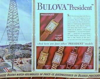 1940 Bulova Watch Ad Matted Vintage Print