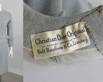 Vintage Christian Dior 1960's Pale Blue Wool Dress Suit