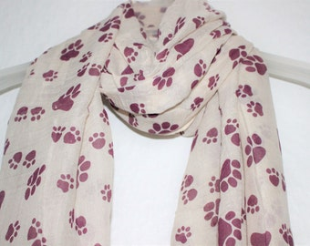 Paws Scarf, Cream Paws Scarf , Womens Gift, Dog Lover, Gift For Her, Spring Summer Scarf, Paw Print, Animal Scarf, Paw Scarf, Scarves