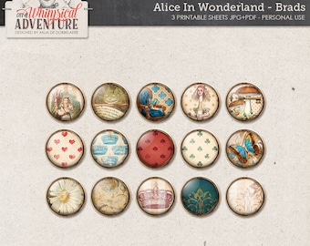Alice In Wonderland digital scrapbooking elements, brads, digital download buttons, embellishments, vintage Alice, Cheshire Cat, flairs