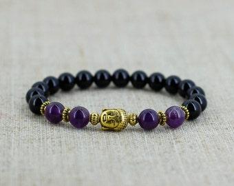 Gift for her gift for him gift for boyfriend gift for girlfriend gift for men bracelet Amethyst bracelet Healing bracelet Buddha bracelet