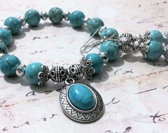 Turquoise Bracelet Set, Turquoise Bracelet, Turquoise Earrings, Silver Bracelet