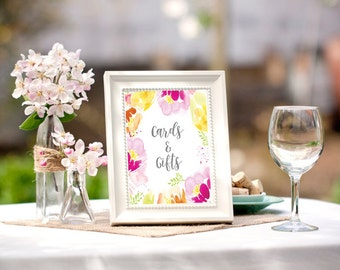 Bridal shower table sign, printable table signs, spring bridal shower, bright bridal shower, cards and gifts sign, advice for bride,