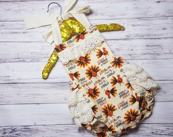 Baby Girl Thanksgiving Outfit, Turkey Ruffle Romper, Thanksgiving romper, Thanksgiving outfit, fall baby romper, gobble til you wobble