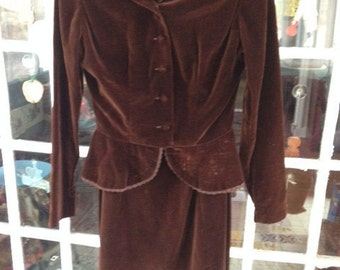 30's chocolate brown rayon velvet skirt suit