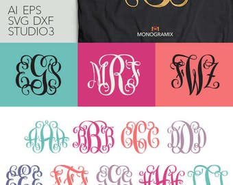 Vine Interlocking Monogram Font - EPS, SVG, DXF, Studio3 - Personal Monogram Letters, Cut files for Silhouette Studio, Cricut Design Space