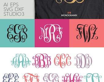 Vine Interlocking Monogram Font - EPS, SVG, DXF, Studio3 - Personal Monogram Letters, Cut files for Silhouette Studio, Cricut Design Space