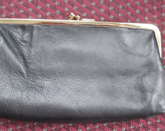 Italian Black Leather Clutch-type Wallet With Two Compartments