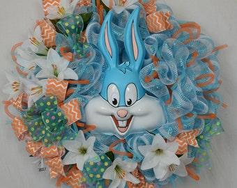 Tiny Toon Adventures' Buster Bunny Wreath, Easter Wreath, Springtime Wreath, Happy Easter Mesh Wreath