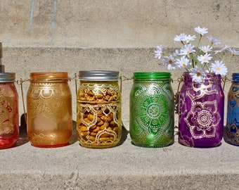 Colorful Bohemian / Moroccan / Henna painted glass mason jar lantern / soap dispenser / flower vase
