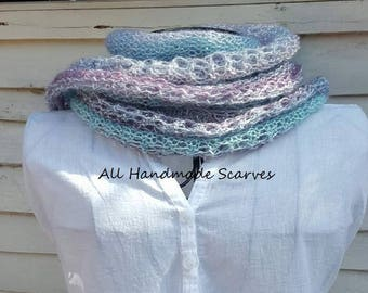 Knitted Blue Purple Scarf
