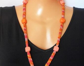 SALE- Summer cotton bracelet, hand  knitted jewellery, i-cord necklace, orange boho bracelet, beaded lariat necklace, knit accessory,