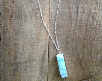 Silver Plated with Genuine Stone 16in Necklace