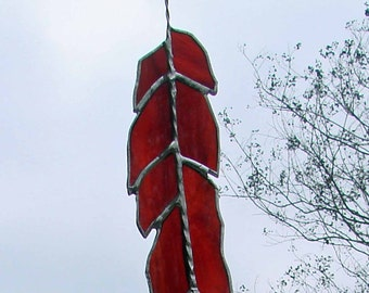Phoenix Fire - Red and Orange Feather Stained Glass Sun Catcher or Ornament
