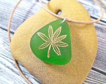 Cannabis Leaf Sea Glass Necklace - Beach Glass Jewelry - Surfer Necklace - Pot Leaf Necklace