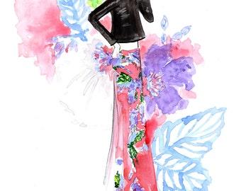 DVF Spring 2017 2 Art Print, Fashion Illustration, Fashion Sketch, Watercolour Illustration, Fashion Art