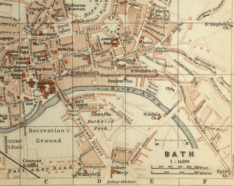 Vintage map of Bath, UK (genuine 1901 antique) with option to handcut with custom words