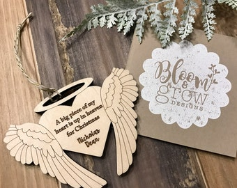 Personalized Ornament -  Christmas Angel Wings