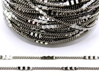 10 meters ( 33 Feet ) Wire Thickness : 0.30 mm Chain, Silver Tone, Free Yes