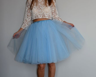 Fine Matte Tulle Sky Blue Knee Length Tulle Skirt/ Dusty Blue Wedding Skirt/ Bridal Skirt/ Bridesmaid Tulle Skirt/ More than 60 Colours