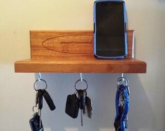 Wall Mounted Key Rack , Key Holder, Keys, ,key mail storage, Key Rack, Gift Idea, Home Decor, Wall decor, Key Holder for wall, Mahogany