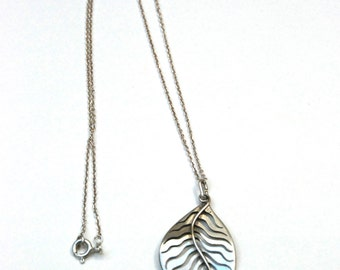 """pendentif """"feuille"""" argent / leaf silver pendant"""