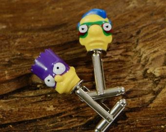 Gift Idea For Kids - Bart Simpson Cufflinks -  Superhero Cuff Links - Milhouse Cufflinks - Gift For Him - Boys Cufflinks