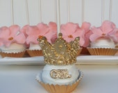 Fondant Cupcakes Tiaras for Princess party/ 3D royal crown toppers set of  12 for a Prince or Princess