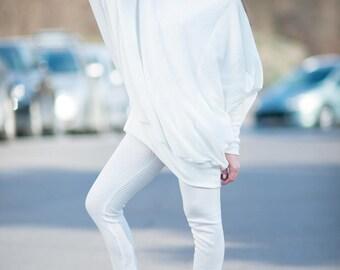 White Knit Top, Long White Tunic, Maxi White Loose Tunic, Knitting leggings, Casual Kniting White Set by EUGfashion