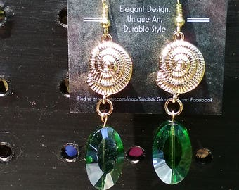 Gold Shell and Emerald Facet Dangle Earrings