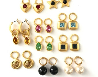 Vintage 18k Gold Plated Interchangeable Charm Earrings // Charm Earrings // Interchangeable Earrings