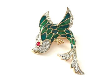 Gorgeous Vintage Gold Plated Enamel and Rhinestone Koi Fish Brooch