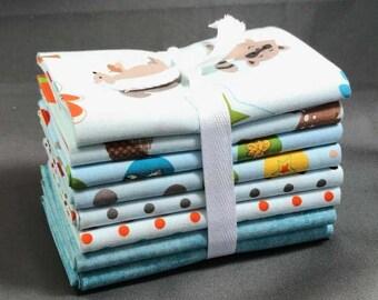 "Fox Trails Fat Quarter Bundle by Doohikey Designs for Riley Blake ~ 8 Blue & Green 18""x22"" PreCut Cotton Quilt Pieces"