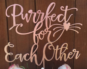 Wedding Cake Topper | Purrfect for each other | Cat Lover Cake Topper | Handlettered Laser Cut Cake Topper by Woodword Design Studio