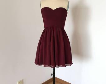 Cheap Sweetheart Burgundy Chiffon Short Bridesmaid Dress 2017