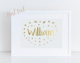 Custom foil print - Nursery Art - Silver foil - Nursery print - Name print - Baby art - Baby print - Custom baby print - Foil wall art