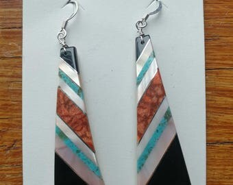 Native American Santo Domingo Mosaic Turquoise Jet Shell Sterling Inlay Earrings - Antonio Pacheco, native american jewerly, southwest