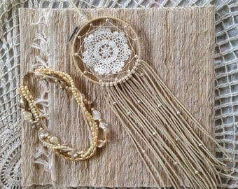 "Boho Dreamcatcher ~ Breath in the Love | 5"" White Crochet Doily Dream Catcher with Pearl Bead Accents 
